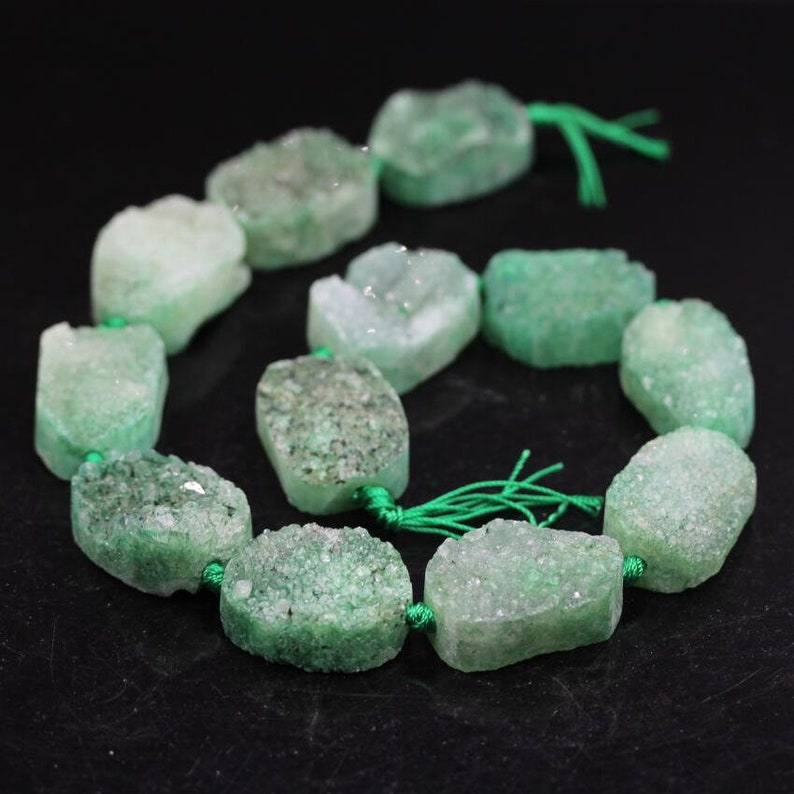Wholesale Natural Green Druzy Agate Slab Edge Beads Raw Agate Stone Drusy Slice Nugget Pendants Crafts