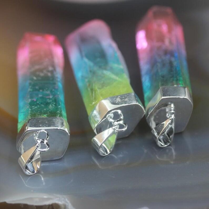 3-10pcs Plated Silver Caps Pendants Gradient Color Titanium Large Size Raw Crystal Points,Rianbow Rough Quartz Stick Spikes Beads Charms