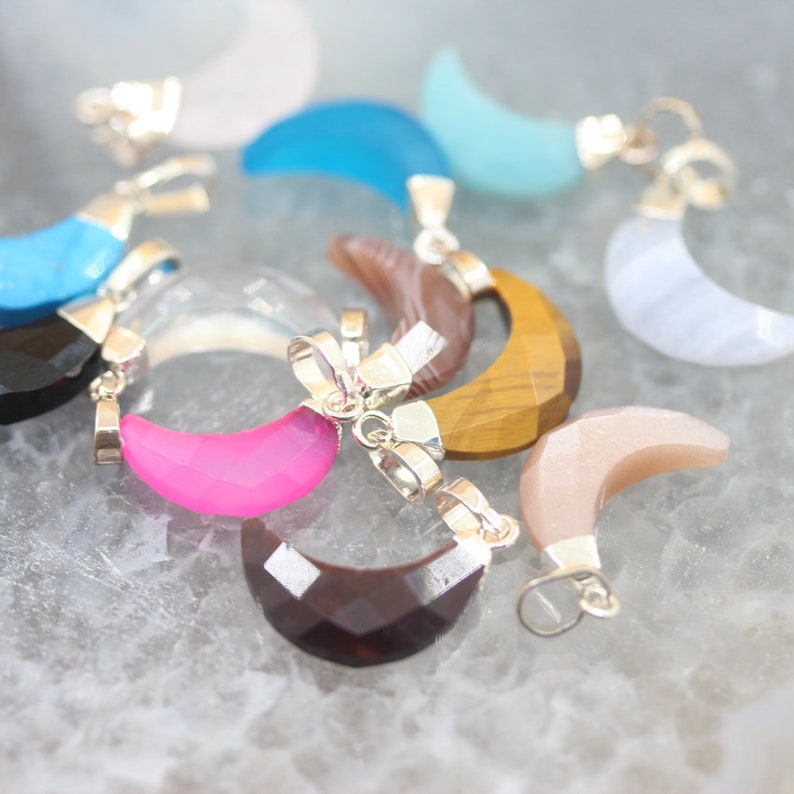 1-10pcs Natural Crystal Quartz Crescent Stone Charms Pendants Jewelry,Faceted Gemstone Agate Horn Moon Silver Bail Earring Necklace Crafts