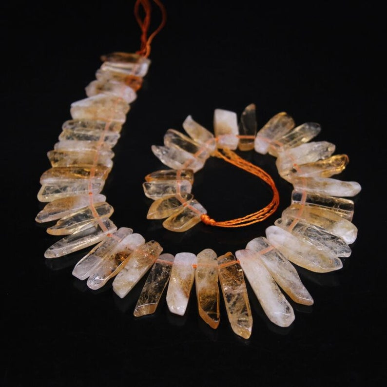 Full Strand,Top Drilled Natural Citrine Quartz Slice Sticks Beads,Raw Yellow Crystal Graduated Cut Slab Point Nugget Pendants Jewelry