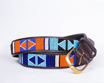 Gift for him SALE Maasai beaded belt Men belt Casual belt Gift for her, Boho belt Handmade belt African beaded belt Leather belt