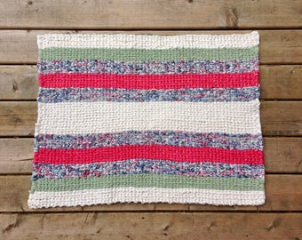 Pink, White, and Green Spring Twined Rag Rug