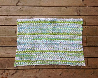 White and Green Twined Rag Rug