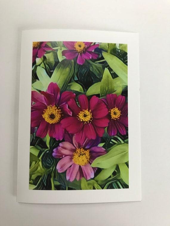 Bright Flowers Photo Art Card Blank Fine Birthday