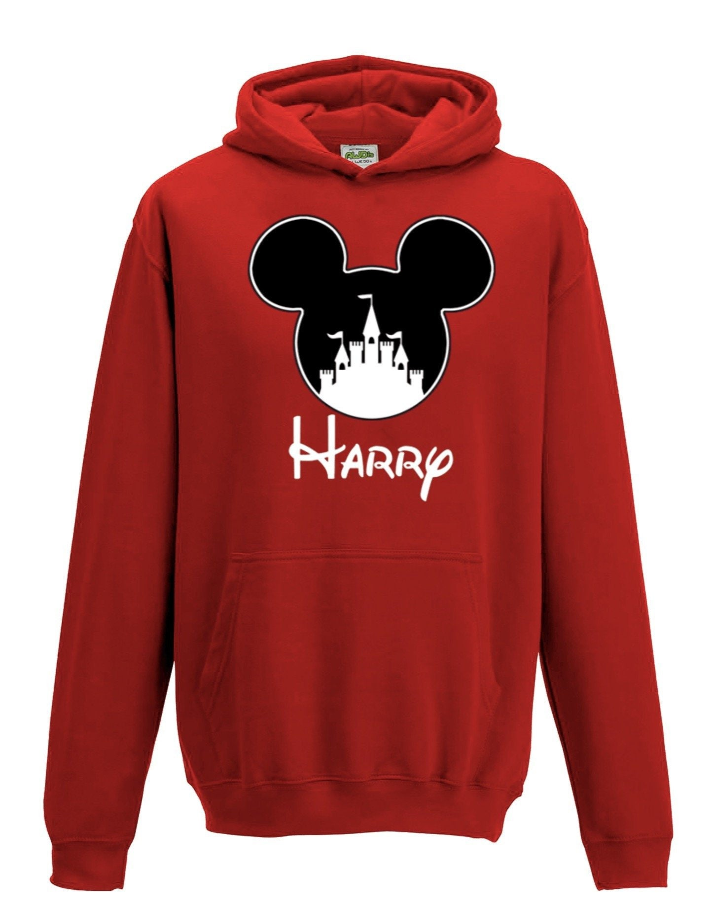 HerbyDesigns Boys Personalised Mickey T-Shirt with Textured Flock Print Kids and Adults