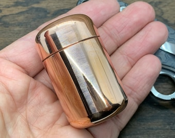 XL Polished Copper Meton-VAULT Pill box Stash box MetonBoss Every Day Carry Survival EDC gear Best friend gifts 50th Birthday gift Cnc