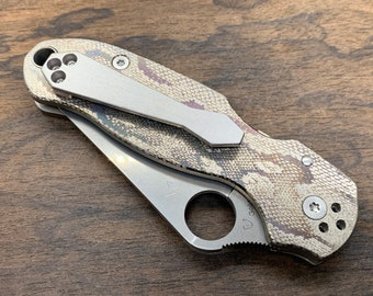 REPTILIAN v2 Engraved Titanium Knife Scales + Clip for PM3 Spyderco Para Military 3 Folding Knife scales Pocket knife EDC MetonBoss
