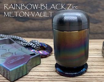 RAINBOW-Black Zirconium pocket Pill Box Stash box Meton-VAULT Waterproof MetonBoss Every Day Carry Survival EDC gear Best friend gifts