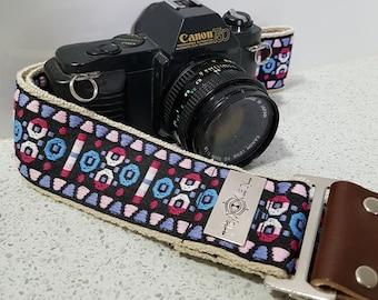 Camera Strap - vintage style cotton ribbon on organic hemp webbing