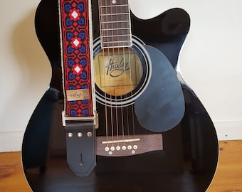Guitar Strap - red and blue vintage style cotton ribbon on organic hemp webbing
