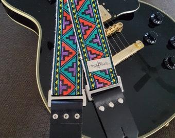 Vintage Style Bohemian Guitar Strap on Hemp Webbing
