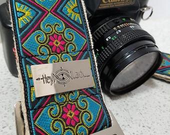 Camera Strap - vintage style ribbon on organic hemp webbing