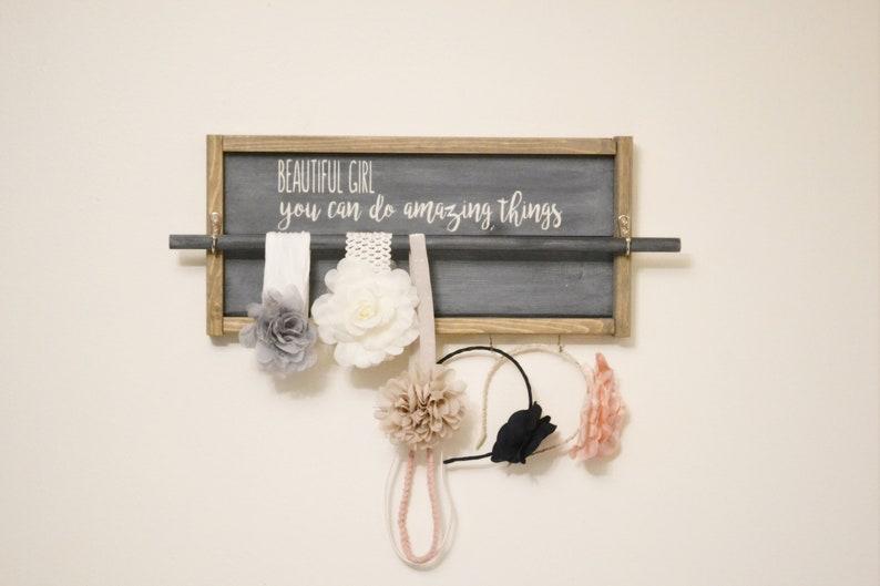 Headband Holder Jewelry Organizer Nursery Wall Art Gift for Baby Shower Headband organizer for Girls Nursery Sign