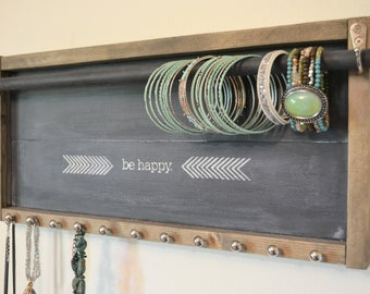 Handmade bracelet holder - Jewelry Organizer wall mounted - Fixer Upper Style - Uptown Girl Gallery bracelet necklace storage
