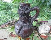 Japanese Meiji Period Bronze Dragon Vase - Japanese Handled Vase - Signed Antique Asian Decor