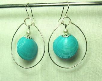 Seashell Dangle Hoop Earrings