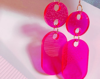 Statement Geometric Laser Cut Contemporary Modern Earrings in Hot Pink Acrylic and Brass