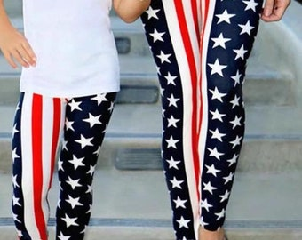 Mommy and Me  2pc Set leggings stars and stripes