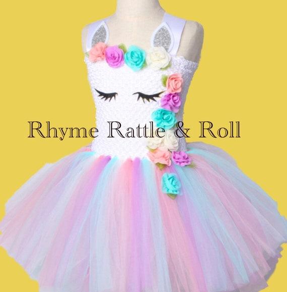 58e2def3340b Girls Unicorn Tutu Pastel Dress. Princess Girls Birthday Party | Etsy