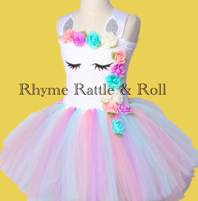 3877e0a8290 Girls Unicorn Tutu Pastel Dress. Princess Girls Birthday Party