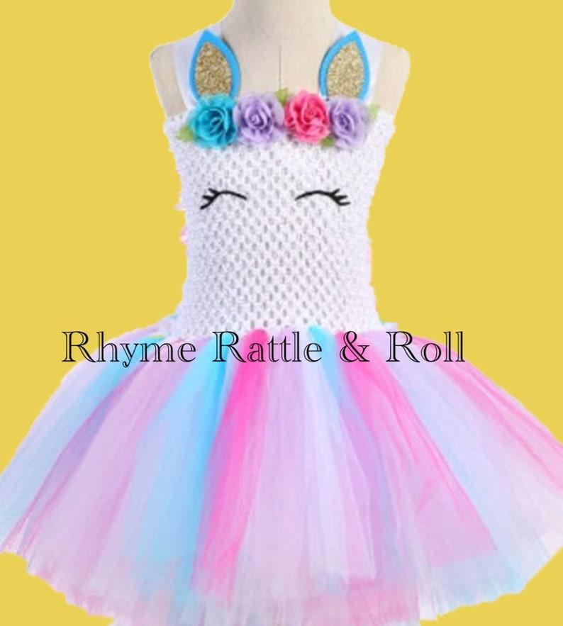Unicorn Bustle Tutu Dress Princess Children Girls Halloween  aa5d97c8324d
