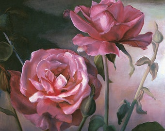 Roses at Sunset 1 - Fine Art Oil Painting Giclee Print