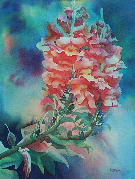 Original Miniature Watercolor Painting Petunia Red White Fine Art Flower Gift idea Wall Art Home Decor Wall Decor