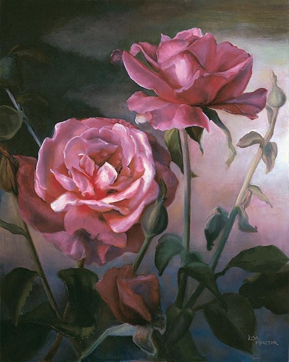 Rose Painting Print Rose Print Rose Oil Painting Rose Wall Decor Botanical Print Romantic Gift Rose Lover Rose Garden Red Rose Decor