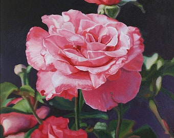 Roses at Sunset 2 - Fine Art Oil Painting Giclee Print