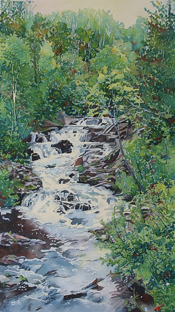 forest waterfall painting print waterfall watercolor forest etsy forest waterfall painting print waterfall watercolor forest waterfall art print forest river landscape rock painting waterfall wall art