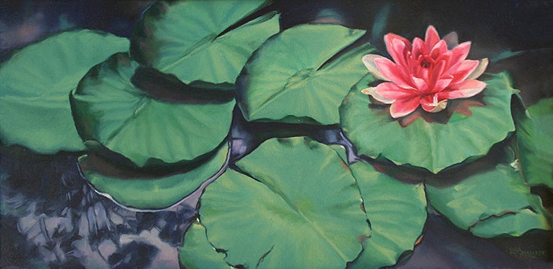 Lily Pad Lotus Flower Painting Print Lily Pad Painting Lily Etsy