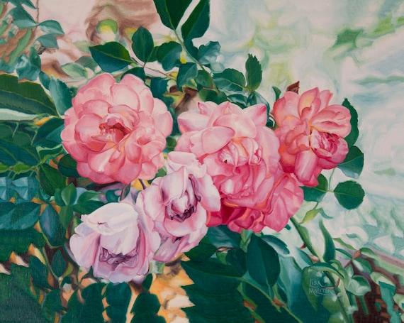 Rose Painting Print Rose Oil Painting Rose Art Print Flower Etsy