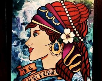 Gypsy Girl Fortune-Telling Original Acrylic Painting