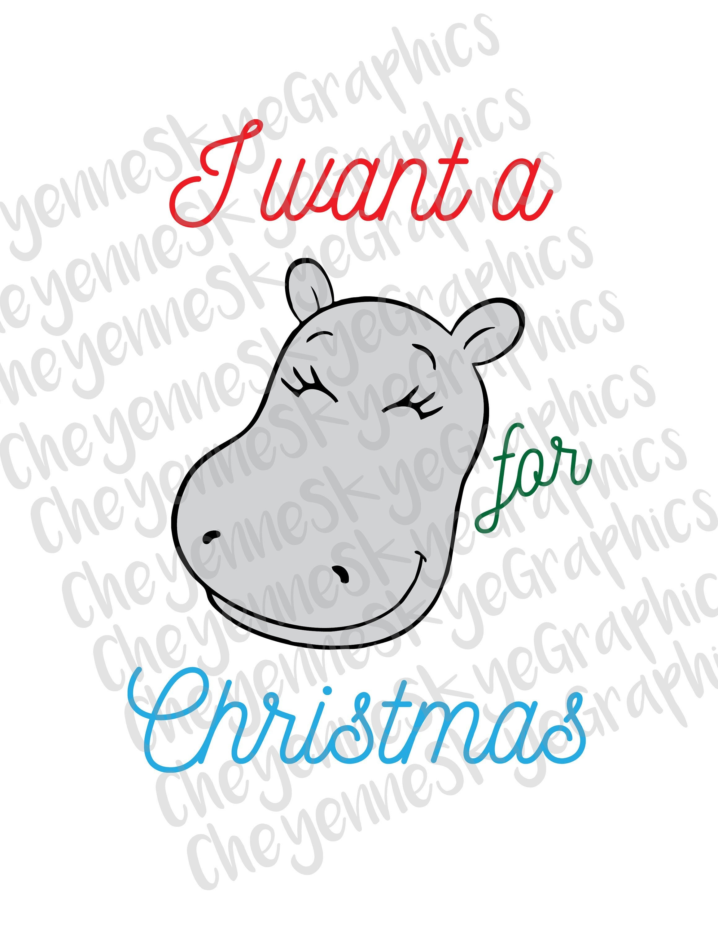 I want a hippopotamus for Christmas Boy/Girl Bundle SVG PNG | Etsy