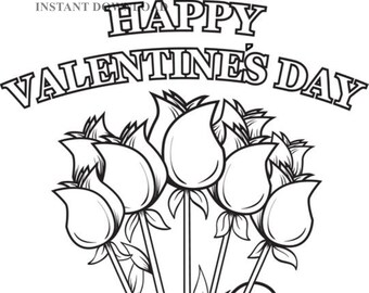 Valentines coloring | Etsy
