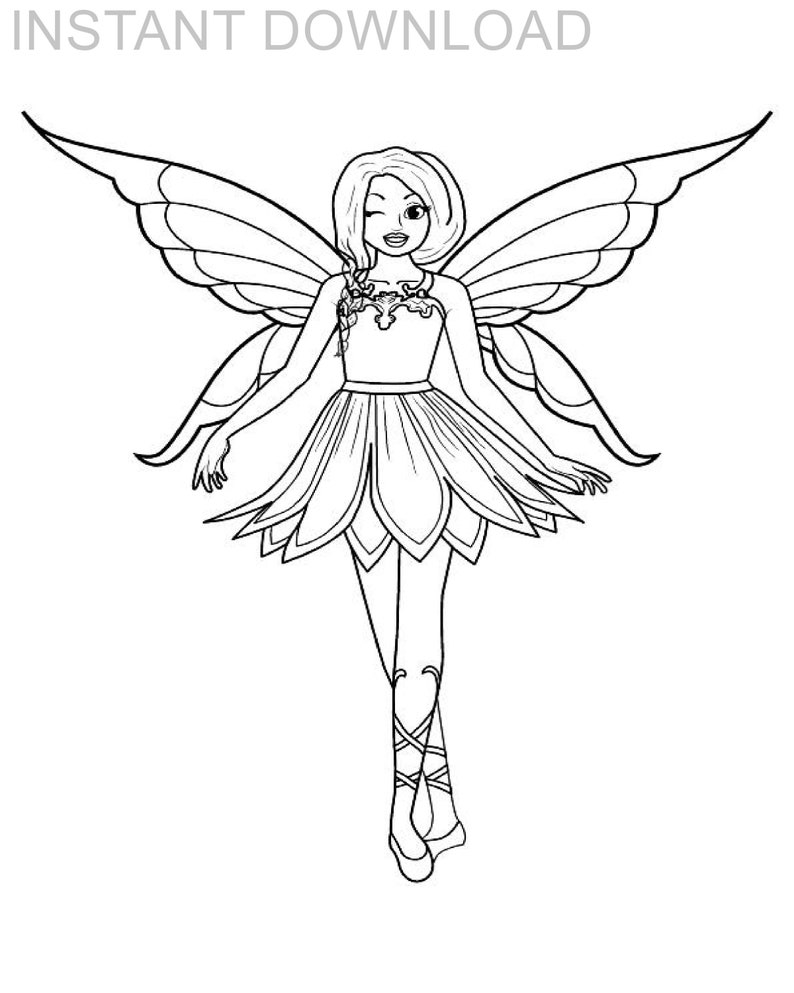 - Printable Fairy Coloring Page/Instant Download/Digital Etsy