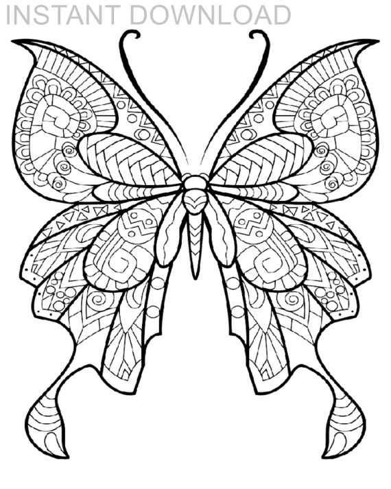 Printable Butterfly Coloring Page/Instant Download/Digital | Etsy