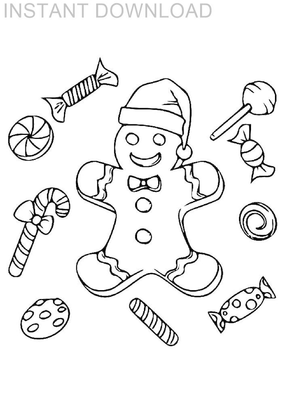 Printable 8 x 10 Tray of Christmas Treats Kids Coloring