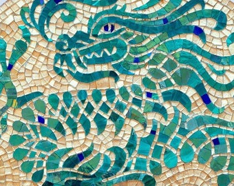 Chinese dragon - Stained glass mosaic, Round wall art, Chinese wall art, Dragon wall art, Dragon mosaic decor, Asian culture
