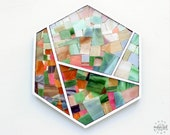 Hexagon and Lines - Geometric Wall Art - Minimalist Living Room Decor - Stained Glass Mosaic on Plywood Base