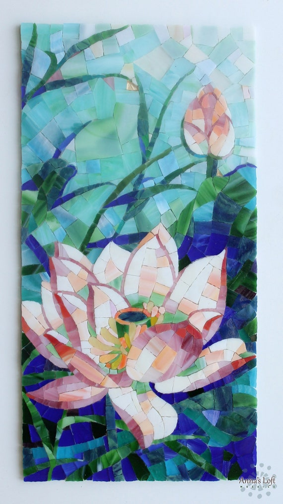 Stained Glass Mosaic Lotus Flower Wall Etsy
