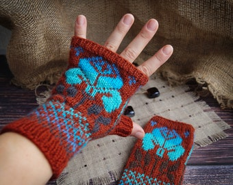Hand knitted fingerles gloves Embroidery Iris crochet Irish lace Casual gift for Easter Art clothing Soft arm warmers Boho Eco life