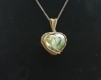 Antiqued Copper wire wrapped Labradorite Heart Pendant