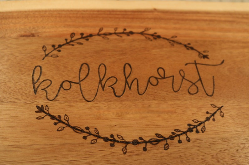 Center Last Name Personalized Wood Burned Natural Edge Cutting Board