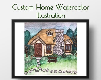 Custom Home Watercolor Illustration: C. Manco Studios, Housewarming,New Home, New Couple, Keepsake, Childhood, Decor, Customization, Holiday
