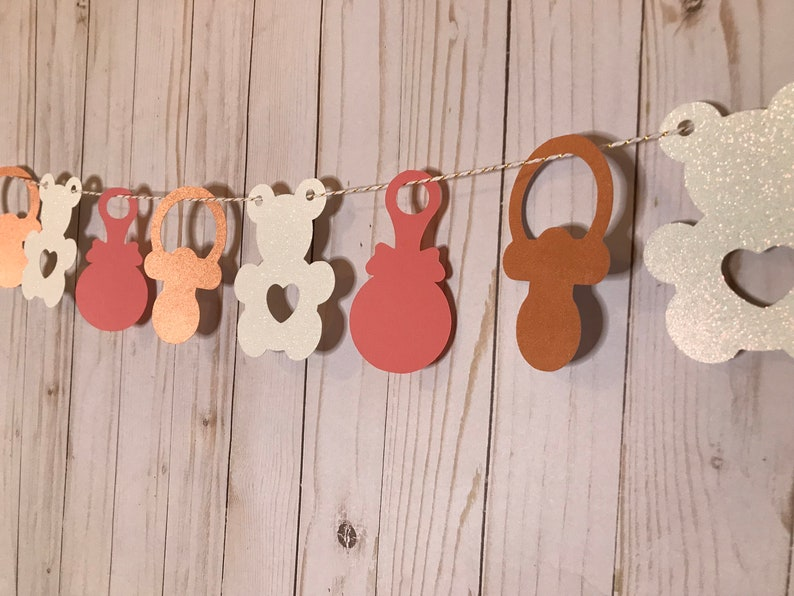 Baby Shower Garland Paper Custom Pink and Rose Gold Garland Pink and Gold Birthday|First Birthday Photo Backdrop|