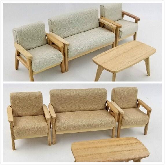 1/12 Sacle Puppenhaus Miniatur Möbel moderne Salon Set-4pcs Sofa Ende Tisch  OB11 Spielzeug
