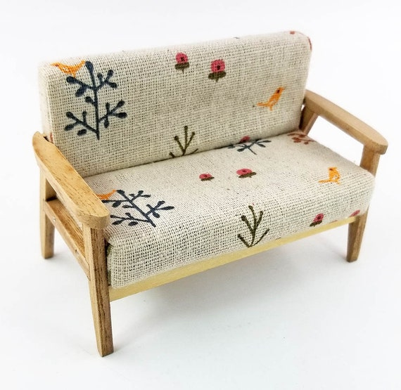 Wood 4pcs Sofa Chair End Table In Bird Couch Model Set 1:12 Dollhouse Miniature