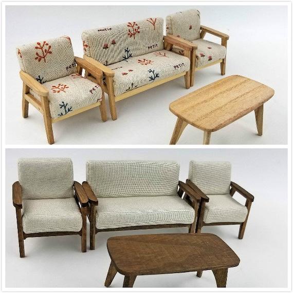 1/12 Sacle Puppenhaus Miniatur Möbel moderne Salon Set-4pcs Sofa Ende Tisch  Mini Spielzeug