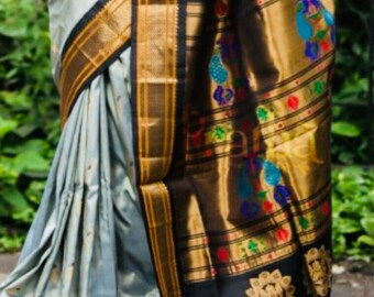Paithani silk handwoven self boarder saree